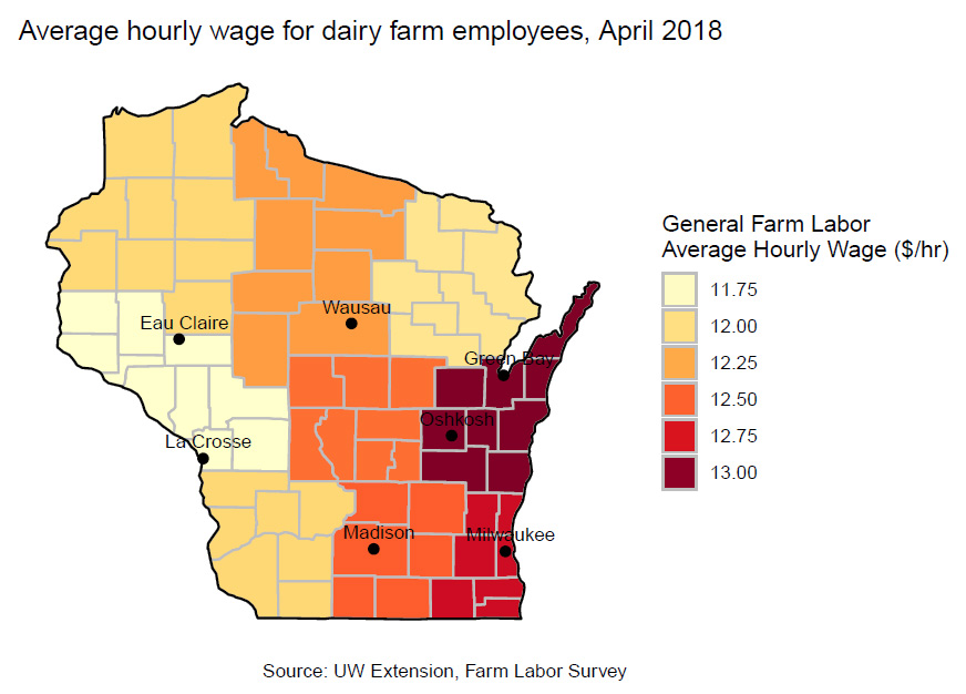 Average hourly wage for dairy farm employees, April 2018