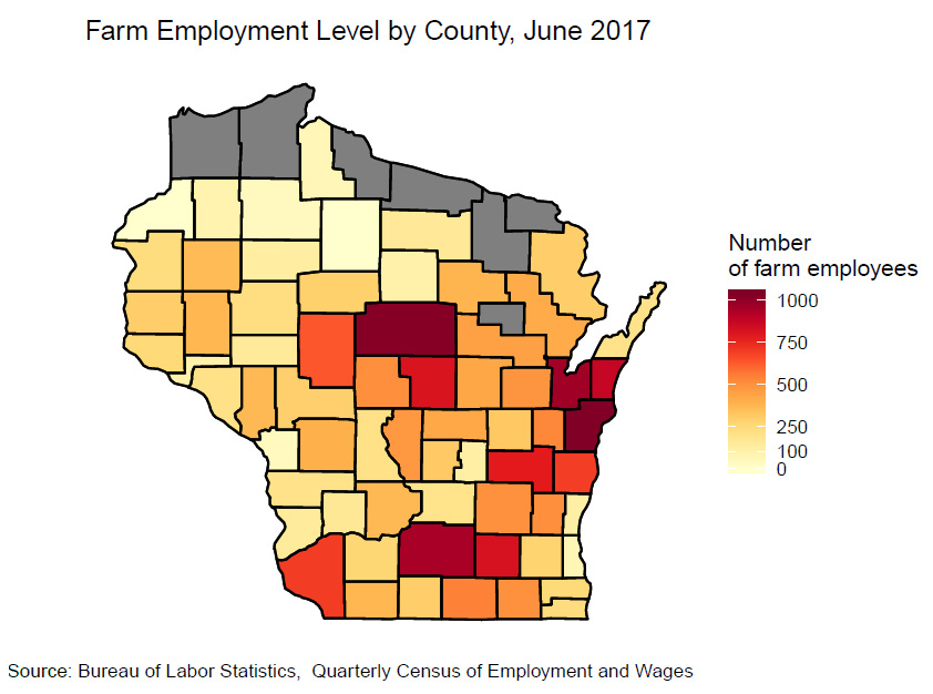 Farm Eemployment Level by County, June 2017