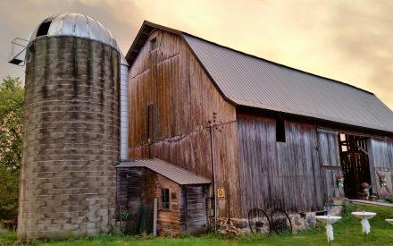 a barn and a silo