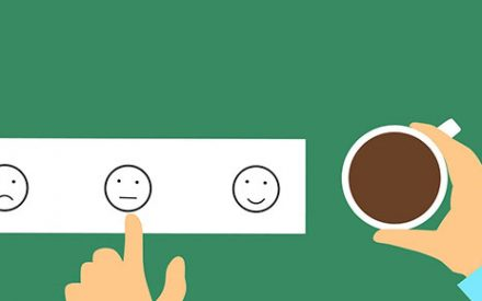 Illustration of someone with coffee giving feedback