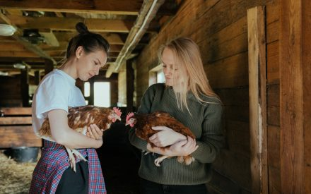 Two women each holding a hen