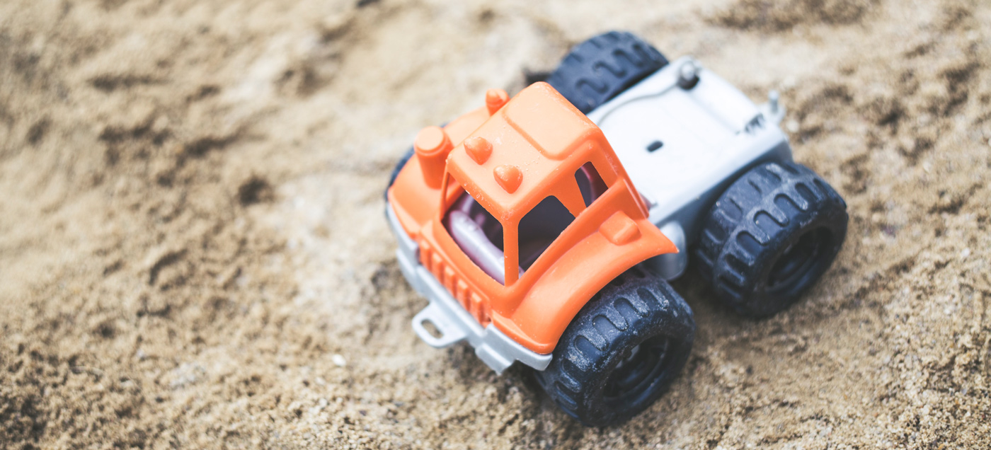 toy truck in the sand