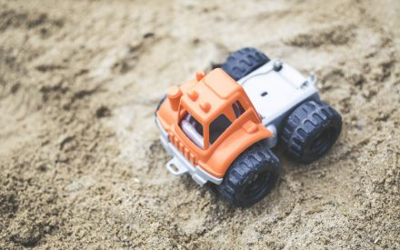 toy truck in sand