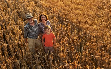 a family of three in a field